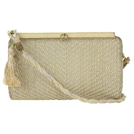 Gucci-Gold Woven Mesh Minaudiere Rope Crossbody-Other