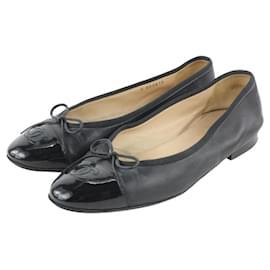 Chanel-Black Cap Toe CC Ballerina Flats Slides-Other