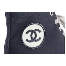 Chanel-Rare Old-School Black High Top Circle CC Logo Black Sneaker-Other