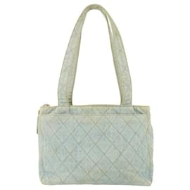 Chanel-Light Blue Quilted Denim Zip Shopper Tote Bag-Other