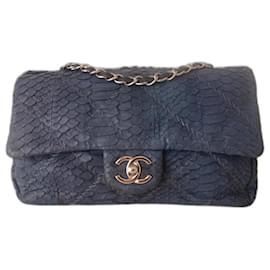 Chanel-CHANEL CLASSIC PYTHON BAG-Dark blue