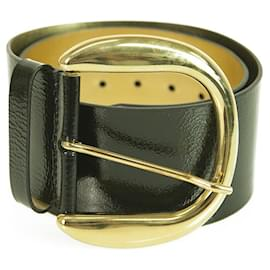 Dolce & Gabbana-DOLCE & GABBANA WOMAN'S Black Shiny Leather Gold XL Buckle Wide Belt SZ 32/80-Black
