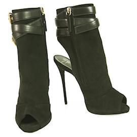 Giuseppe Zanotti-Giuseppe Zanotti Black Suede & Leather High Heels Peep Toe Booties sz 37-Black