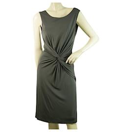 Halston Heritage-Halston Heritage Gray Sleeveless Twist Knot Knee Length Dress size 6-Grey