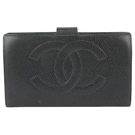 Chanel-Black Caviar Leather CC Logo Long Flap Wallet-Other