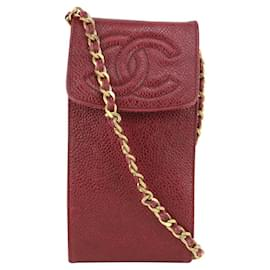 Chanel-Bordeaux Caviar Leather CC Mobile Case on Chain Crossbody Bag-Other