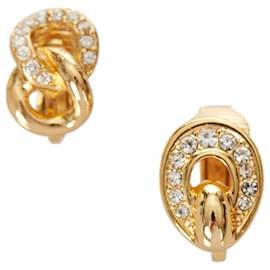 Dior-Boucles D'oreilles Clip Dior Or Strass-Doré