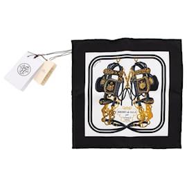 Hermès-Hermes Black Brides de Gala Mini Silk Scarf-Black,Multiple colors
