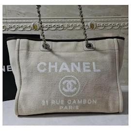 Chanel-Chanel Deauville Beige Tweed Tote Bag-Beige