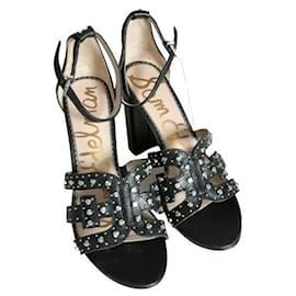 Sam Edelman-Yasha Leather Studded Heeled Sandals-Black,Silver hardware