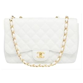 Chanel-Quilted White Caviar Jumbo Classic lined Flap Gold Chain-Other