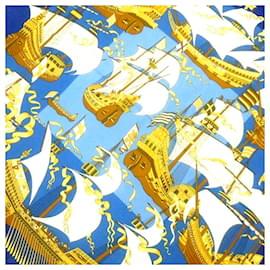 Hermès-Hermes Blue Armada Silk Scarf-Blue,Multiple colors