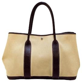 Hermès-Hermes Brown Garden Party PM-Brown,Beige,Dark brown