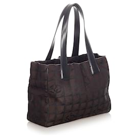 Chanel-Chanel Black New Travel Line Canvas Tote Bag-Brown,Black,Dark brown