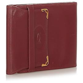 Cartier-Housse de passeport en cuir rouge Must De Cartier Cartier-Rouge,Bordeaux