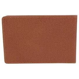 Louis Vuitton-Brown Taiga Leather Card Holder Wallet Case-Other