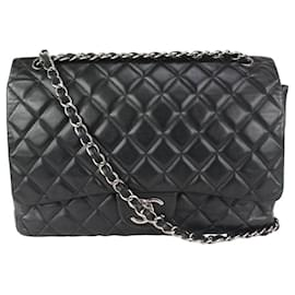 Chanel-Black Quilted Lambskin Maxi Classic lined Flap Silver Chain-Other