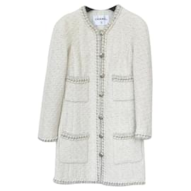 Chanel-8,2K$ Chain Trim Tweed Jacket-Cream