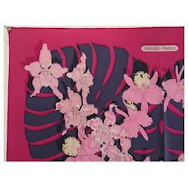 Hermès-HERMES LES ORCHIDES RYBALTCHENKO SQUARE SCARF 90 SILK FUSHIA SILK SCARF-Fuschia