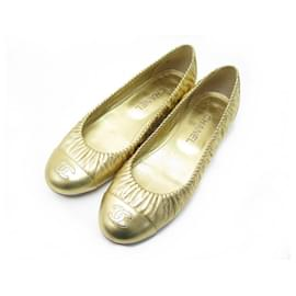Chanel-NEW CHANEL BALLERINA CC G LOGO SHOES31731 40 NEW SHOES GOLD LEATHER-Golden