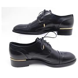 Louis Vuitton-LOUIS VUITTON DERBY SHOES 37 BLACK LEATHER SHOES-Black