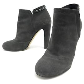 Chanel-CHANEL ANKLE BOOTS G29928 40 GRAY SUEDE GLITTER BOX BOOTS-Grey