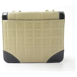 Chanel-HANDBAG CHANEL TIMELESS ART DECO LEATHER BEIGE & BLACK BANDOULIERE HAND BAG-Other