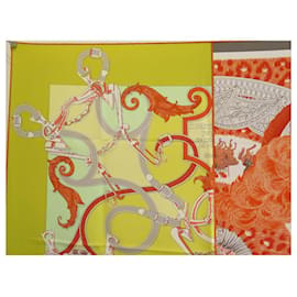 Hermès-FOULARD HERMES lined HELMETS AND FEATHERS & THE INSTRUCTION OF ROY CARRE SCARF-Yellow