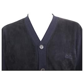 Hermès-HERMES SWEATER CARDIGAN M 48 SUEDE & WOOL CASHMERE SILK NAVY BLUE SWEATER-Navy blue