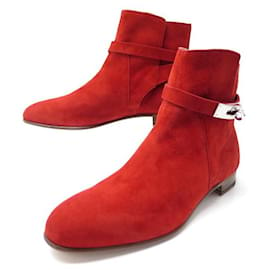 Hermès-NEUF CHAUSSURES HERMES BOTTINES NEO 162134Z 39 DAIM ROUGE NEW BOOTS SHOES-Rouge