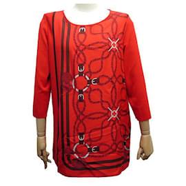 Hermès-NEW HAUT HERMES TUNIC L 42 RED SILK & COTTON CORDAGE POMPONS SHIRT-Red