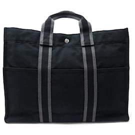 Hermès-SAC A MAIN HERMES CABAS TOTO 42 CM EN TOILE NOIR CANVAS HAND TOTE BAG-Noir