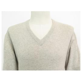 Hermès-NEW HERMES V NECK SWEATER M 48 IN CASHMERE TAUPE CASHMERE NEW SWEATER-Taupe