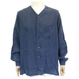 Hermès-NEW HERMES OVERSIZE TUNIC SHIRT L 42 BLUE LINEN NEW LINEN SHIRT-Blue