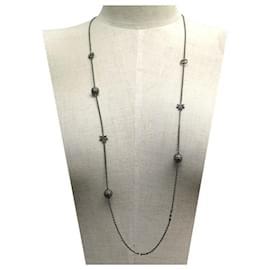 Dior-NEUF COLLIER DIOR SAUTOIR 97 CM METAL NOIR ETOILES SPHERES STRASS NECKLACE-Noir
