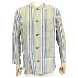 Hermès-NEW HERMES TUNIC SHIRT STRIPED JACKET M 48 BEIGE LINEN SHIRT VEST-Beige