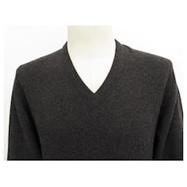 Hermès-NEW HERMES V NECK SWEATER M 48 ANTHRACITE CASHMERE NEW SWEATER-Dark grey