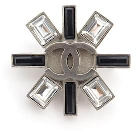 Chanel-CHANEL CC LOGO BROOCH AND LARGE STRASS IN SILVER METAL SILVER BROOCH-Silvery