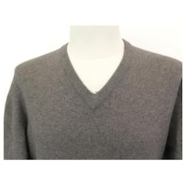 Hermès-NEW HERMES V-NECK SWEATER L 52 IN CASHMERE GRAY GRAY CASHMERE NEW SWEATER-Grey