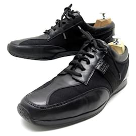 Gucci-GUCCI sneakers SHOES 102309 42.5 CANVAS & BLACK LEATHER SNEAKERS SHOES-Black