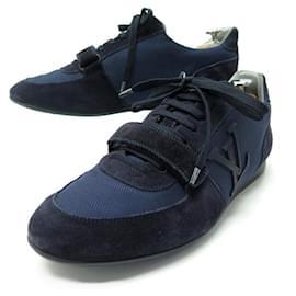 Louis Vuitton-LOUIS VUITTON sneakers SHOES 7.5 41.5 NAVY BLUE CANVAS SNEAKERS SHOES-Blue