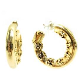 Chanel-VINTAGE CHANEL CREOLES LOGO CC EARRINGS 1970 GOLD METAL EARRINGS-Golden
