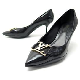 Louis Vuitton-LOUIS VUITTON SHOES CANDICE PUMPS 36 BLACK LEATHER + SHOES BOX-Black