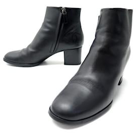 Chanel-CHANEL SHOES CC G LOGO ANKLE BOOTS29333 40.5 BLACK LEATHER + SHOES BOX-Black