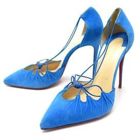 Christian Louboutin-NEW CHRISTIAN LOUBOUTIN SHOES 38 PUMP ELECTRIC BLUE SUEDE PUMPS-Blue