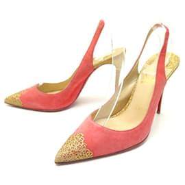 Christian Louboutin-CHRISTIAN LOUBOUTIN SHOES 37.5 PINK SUEDE & GOLD GLITTER PUMPS-Pink