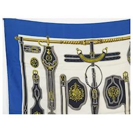 Hermès-FOULARD HERMES HARNAIS DE LA PRESIDENCE CARRE 1966 1ERE EDITION SOIE SCARF-Bleu