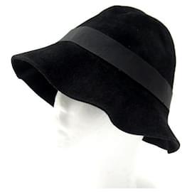 Hermès-NEUF CHAPEAU HERMES BOB T59 EN FEUTRE DE LAPIN NOIR NEW BLACK FELT HAT-Noir