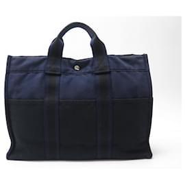 Hermès-SAC A MAIN HERMES CABAS TOTO 42 CM EN TOILE BLEU & NOIR CANVAS HAND BAG-Autre