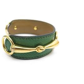 Hermès-BRACELET HERMES MORS 16 CM EN CUIR VERT & PLAQUE OR DORE + BOITE LEATHER-Vert